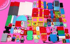 LOT 100 Pieces LEGO Duplo PEOPLE FIGS CARS SPECIAL Color Building Bricks Blocks