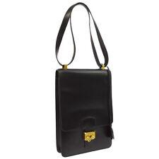Authentic HERMES Sac A Depeche Shoulder Bag Black Box Calf Vintage K08196b