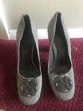 tory burch shoes Female Tweed Stacked Rêva Logo Heel Shoe Size 10