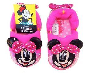MINNIE MOUSE DISNEY Plush Slippers w/ Pink Polka Dot Bows NWT Toddlers Size 9/10