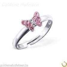 Rosa Kristall Schmetterling Ring 925 Echt Silber Kinder Geschenkidee