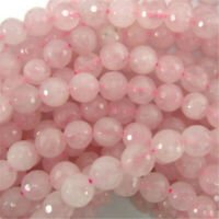 "Faceted Rose Quartz Round Beads Gemstone 15"" Strand 4mm 6mm 8mm Fashion"
