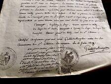 Authentic Manuscript Document 1809