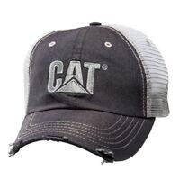 Caterpillar CAT Equipment Trucker Distressed Twill Mesh Diesel Cap Hat Vintage