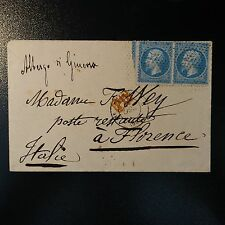 FRANCE NAPOLÉON No.22 x2 LETTER COVER DOTTED LINE END OF PARIS FOR FLORENCE