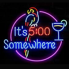"New it's 5:00 Somewhere Parrot Neon Sign Light Lamp Bar Pub Gift 20""x16"""