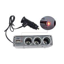 3 Way12V Multi Socket Car Cigarette Lighter Splitter USB DC Charger Adapter #L