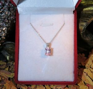 WOW! So Pretty Natural Baby Pink Morganite oval facet sterling silver pendant 🌸