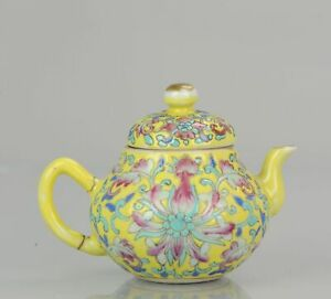 Antique teapot China 1900 Yellow flowers Chinese porcelain Qing Dynasty ...