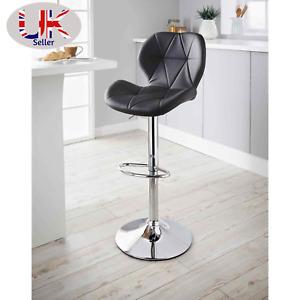 Modern Padded Swivel PU Leather Breakfast Kitchen Bars Stools Pub-Barstool Black
