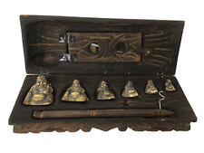 More details for vintage opium scales, brass buddha's, in a carved wooden case