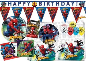 Spiderman Team Party Decorations Tableware Plate Happy Birthday Balloons