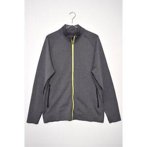LULULEMON Mens Pulse Track Jacket Full Zip Seamless Gray Heathered Black size XL
