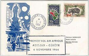 AVIATION 1st Flights POSTAL HISTORY -- Ivory Coast Côte d'Ivoire / Switzerland