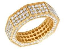 Men's 18k Yellow Gold Real Diamond Eternity OCTAGON 3d Wedding Band Ring 4ct 8mm