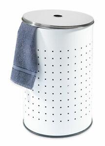 Wäschekorb Wäschesammler Wäschetonne mit Deckel Edelstahl Weiß 37 Liter Rund