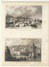 Devon Plymouth Breakwater | The Barbican Pool Plymouth 1829 Engraved Print