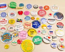 Random Vintage Pinback Button Lot 50 Pins Advertising, Political, Movies, Funny