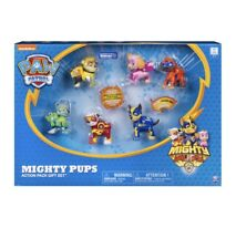 Paw Patrol Mighty Pups 6 Pack Gift Set Figures  With Light Up Badges & Paws NEW!