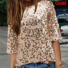 Fashion Women's Loose Off Shoulder Sequin Glitter Blouses Casual Shirt Party Top