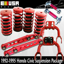 Scaled Lowering Coilover Springs+F&RCamber+Rear Lower Control for Civic 92-95RED