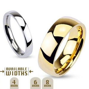 316L Stainless Steel Mirror Gold IP Wedding Band Ring Size 9 10 11 12 13 14 New