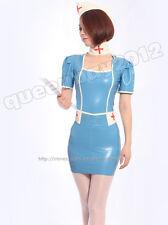 100% Latex Rubber Gummi 0.45mm Nurse  Dress Uniform Catsuit Skirt Suit Costume
