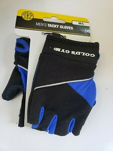Gold's Gym Mens Tacky Gloves,  Ventilated, Black / Blue,  M/L New