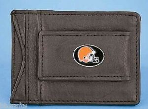NEW NFL CLEVELAND BROWNS CASH & CARD HOLDER LEATHER WALLET - STOCKING STUFFERS