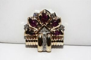 $3,200 2.55CT NATURAL SCARAB CUT RED RUBY & ROUND CUT DIAMOND CLUSTER 14K BROOCH