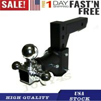 Tri-ball Swivel Adjustable Trailer Tow Drop Hitch Ball Mount 2 Inch Receiver