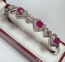 "Designer Sterling Silver Ruby Diamond Heart Cuff Bangle Wedding Mom Bracelet 7"""