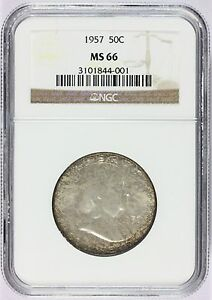 1957-P U.S. Franklin Half Dollar 50 Cents Silver Coin - NGC MS 66