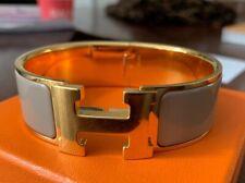 Hermes Marron Glace Grey Enamel H Clic Clac PM Bangle with Box (RRP: £560)