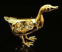 SWAROVSKI CRYSTAL ELEMENT STUDDED DUCK FIGURINE ORNAMENT 24K REAL GOLD PLATED