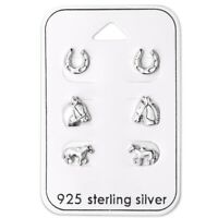Horse Lovers Sterling Silver Stud Earrings 3 Pairs Carded Anti-Tarnish
