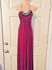 Sky Brand XS Cranberry Jeweled Neckline Maxi Dress-Extra Small