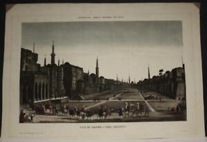 CAIRO EGYPT 1780ca ANDRÉ BASSET ANTIQUE ORIGINAL COPPER ENGRAVED OPTICAL VIEW