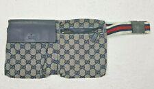 Auténtico Vintage GUCCI GG Lona Azul Cintura Cinturón De Cadera Riñonera Fanny Pack
