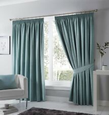 Dijon Duck Egg Luxury Thermal/Blackout Pencil Pleat Fully Lined Curtains