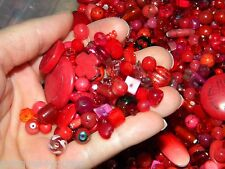 NEW 6/oz PREMIUM Glass, Stone RED'S MIXED LOOSE BEADS LOT NO JUNK