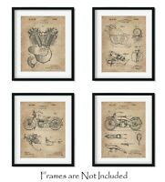 """4 Harley Davidson Patent Art Prints 8""""x10"""" Wall Decor - Great Gift for Bikers"""