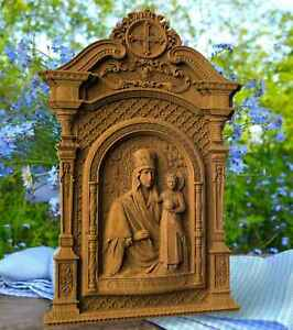 Mother Of God Look For Humility WOOD CARVED CHRISTIAN ICON  WALL HANGING