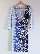 Diane Von Furstenberg Sz US 8/AU 10 Geometric Print Silk Jersey Cowl Neck Dress