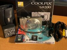 Nikon COOLPIX S8200 16.1MP Digital Camera - Silver + Box + SD Card