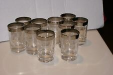 """10 Dorothy Thorpe Style 3.5"""" Silver Rim Juice-size Glasses ETCHED MID CENTURY"""