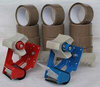 2x Abroller 12 x Rollen Paketband Klebeband Packband Band 66M Lang 48MM Breit 2