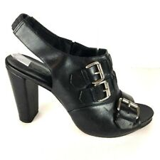 DKNY Womens Heels Shoes 8 Bootie Black Leather Buckle Strappy Open Toe Rocker