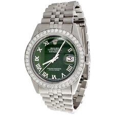 Mens Rolex 36mm DateJust Diamond Jubilee Watch Roman Numeral Green Dial 1.90 CT.
