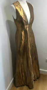 Ralph Lauren Collection bronze plunge neck A line gown dress US6 UK 10 VGC metal